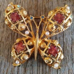Jewelry - Vintage Butterfly Amber Enamel Color Brooch Pin